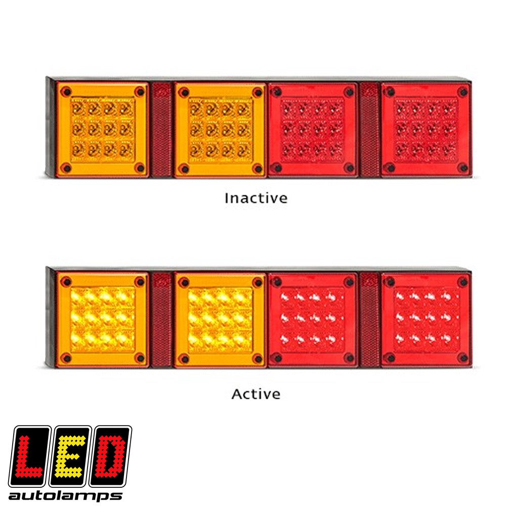 LED MINI JUMBO TAIL LAMP LED AUTOLAMP STOP-TAIL-IND L=420MM H=95MM 12-24 VOLT