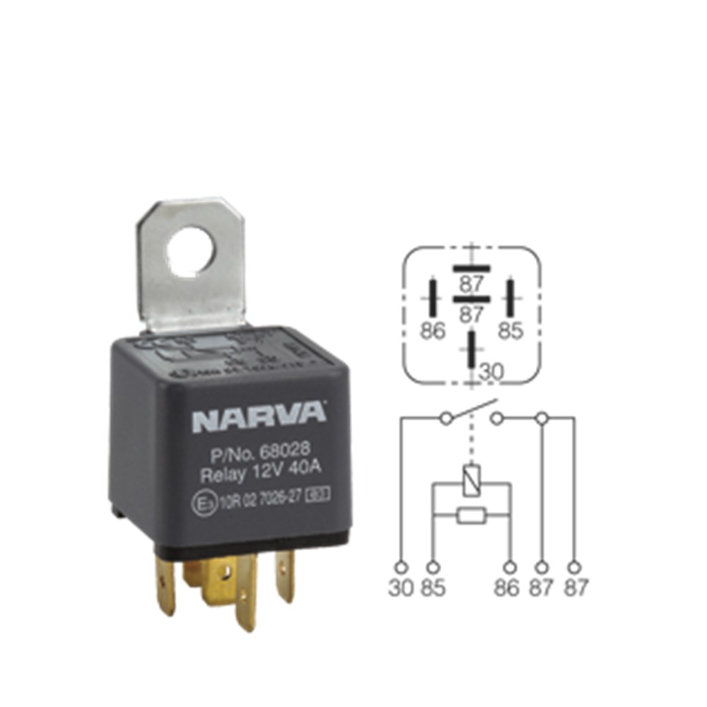narva relay 5pin 12v 40a normal open with diode collier miller rh colliermiller com au 12V Auto Relay Diagram 4 Pin Relay Wiring Diagram
