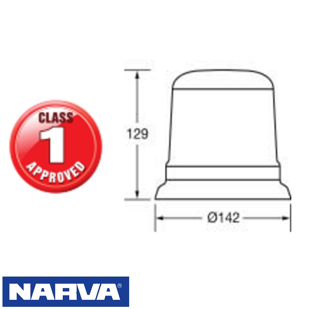 AMBER LED CLASS 1 STROBE NARVA 12/24V CLASS 1 APPROVED 'EUROTECH' LARGE FLANGE MOUNT