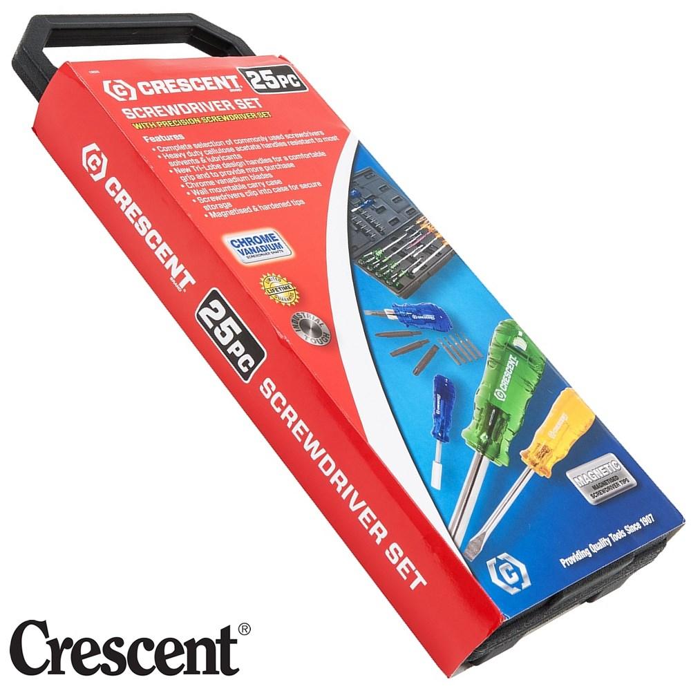 crescent screwdriver set 25pc trilobe acetate handles with pvc carry case c. Black Bedroom Furniture Sets. Home Design Ideas