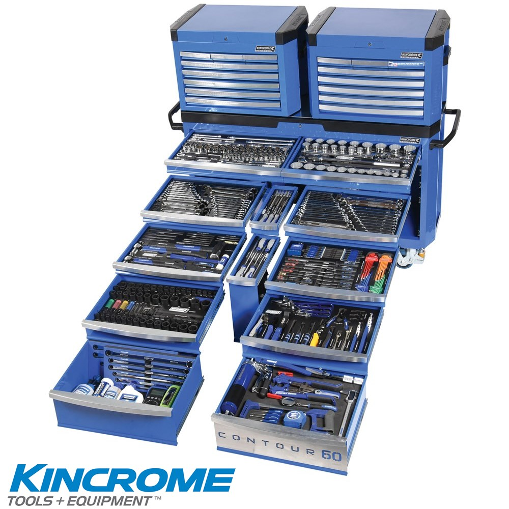 KINCROME TOOLKIT 500 PIECE 28 DRAWER CONTOUR 60 TROLLEY WITH BONUS 2 X TOOL CHEST