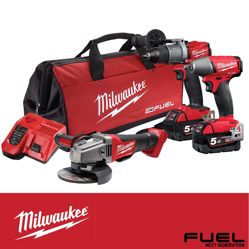 "MILWAUKEE 18V/5AH FUEL 3PC KIT IMP DRILL/ 1/2""WR /GRIND 2 X 5.0AH BATTERIES & CHARGER"