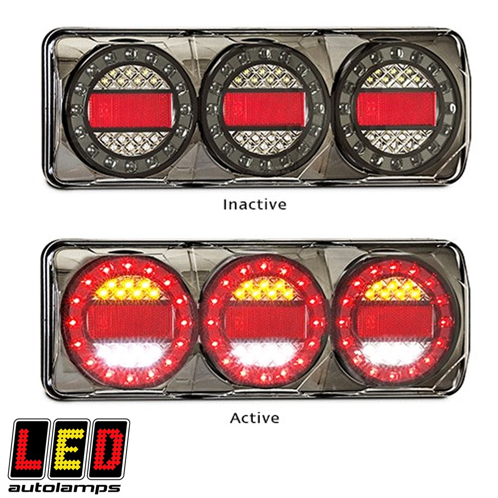 LED MAXILAMP STOP-TAIL-IND-REV LED AUTOLAMPS REAR COMBINATION L=370MM W=135MM