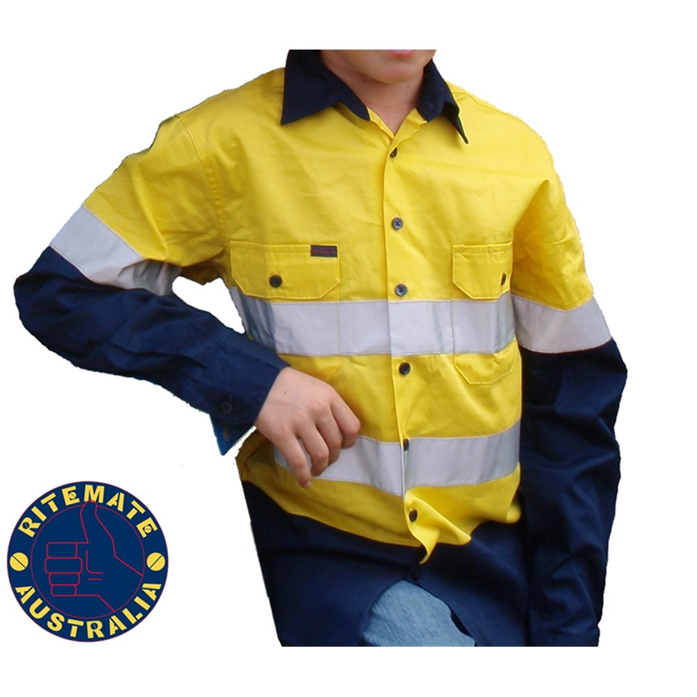 Kids hi vis yellow navy shirt l s reflective tape sz5 6 for Hi vis shirts with reflective tape