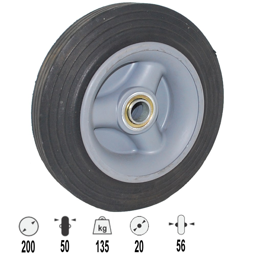 Wheel 200mm Rubber 135kg Offset For Trolley 20mm Bearing